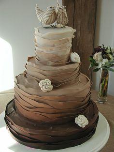 Chocolate Ruffle Cake. Chocolate Cake. Learn how to create fabulous cakes, cupcakes, biscuits & more: www.mycakedecorating.co.za #baking #chocolate #ganache
