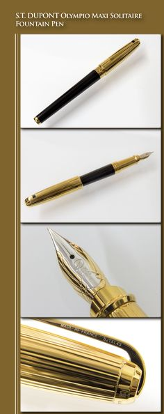 S.T. DUPONT Olympio Maxi Solitaire Fountain Pen (body in brass, barrel with lacquer coating, cap and trim in gold plate, 18kt gold dual-tone nib) - 1998 / France