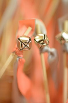 Details: Bell wands for bride and groom exit