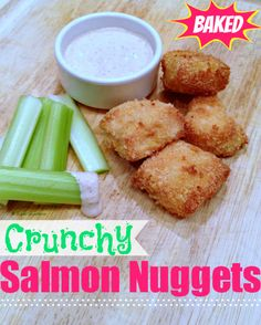 """Healthy Baked Salmon Nuggets » Super Glue Mom™ easier to get my kids to eat fish if it's """"disguised""""... recipe calls for panko... never purchased those in my life, I make my own whole wheat crumbs. And maybe add some bay seasoning? salt & pepper just doesnt seem like it'd do it for ME, let alone my kids."""
