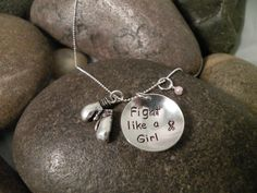 Fight Like A Girl Custom Hand Stamped Sterling Silver Necklace Breast Cancer Awareness. $60.00, via Etsy.