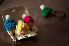 Crochet egg cozies by Spectacled Chicks. Choose any colour and I'll make you the cozy of your dreams :)