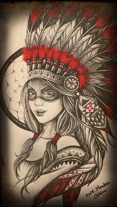 Native American Drawing, Native American Tattoos, Native Tattoos, Native American Pictures, Indian Women Tattoo, Indian Girl Tattoos, Indian Tattoo Design, Leg Tattoos, Body Art Tattoos