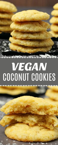 Soft, moist and buttery vegan coconut cookies packed with coconut flavor and tex… Weiche, feuchte und butterartige vegane Kokoskekse mit Kokosgeschmack und -textur! Vegan Treats, Vegan Foods, Vegan Dishes, Coconut Cookies, Yummy Cookies, Cookies Vegan, Vegan Christmas Cookies, Vegan Dessert Recipes, Vegetarian Recipes