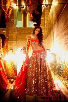 Orange and Red Mirror Bridal Lehenga Choli Replica