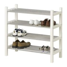 TIP: Keep a towel near the door to wipe snow and rain off coats as you come in. TJUSIG Shoe rack IKEA If you need more storage space for your shoes, simply stack one shoe rack on top of another. Shoe Rack, Storage Spaces, Cool House Designs, Ikea, Ikea I, Ikea Furniture, Rack Design, Ikea Shoe Rack, Neat Closet