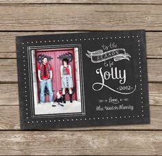 Christmas Card : Tis The Season To Be Jolly Vintage Chalkboard Custom Photo Holiday Card.