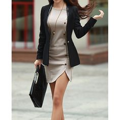 Trendy Buttons Design Long Sleeve Round Collar Solid Color Pullover Dress