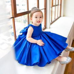 Shop Blue Satin Couture Flower Girl Dress Elegant Summer Weddings With Bow online. Pink Flower Girl Dresses, Blue Dresses, Flower Girls, Ruffle Dress, Baby Dress, Moda Kids, Girls Dresses Online, Kids Clothing Brands, Blue Satin