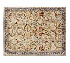 Eva Persian-Style Rug #potterybarn- has brown and green to tie in sofa and green pot- would have to go lighter color blue on curtains.
