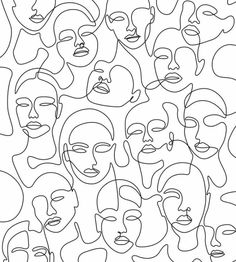 One line art of women's faces, Digital drawing, Drown by a Fiverr seller. If you need a unique drawing like this for your own image, follow the link above to contact him! #lineart #Onelineart #afflink #ad Abstract Face Art, Arte Sketchbook, Art And Illustration, Minimalist Art, Wall Collage, Line Art, Art Drawings, Abstract Drawings, Canvas Art