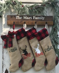 This personalized stocking holder makes a great Christmas gift. After Christmas use it for a towel holder, coat rack or a key rack Rustic Christmas, Christmas Crafts, Christmas Decorations, Holiday Decor, Christmas Bedroom, Christmas Sewing, Christmas Countdown, Christmas Signs, Handmade Decorations