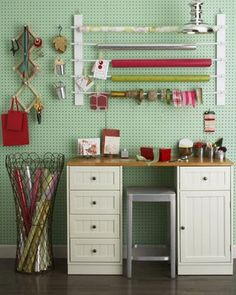 possible pegboard wall, plus I really love the paper on rolls-would work great for printmaking as well!