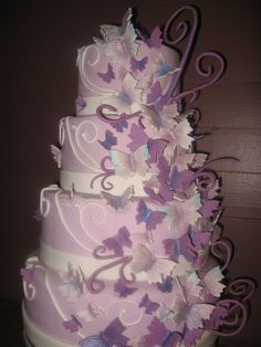 April's Lavendar Butterfly Wedding Cake