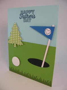 Stampin' Up Father's Day Card A Round of Golf by InkStainedPaper Fathers Day Cards, Happy Fathers Day, Lego Birthday, Birthday Cards, Fathersday Crafts, Golf Cards, I Love My Dad, Card Sentiments, Card Tutorials