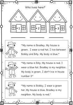 TEACH YOUR CHILD TO READ - Wonderful logic puzzles. Children have to read, color and match the cute robot kids with their houses. - Super Effective Program Teaches Children Of All Ages To Read. English Activities, Educational Activities, Learning Activities, Stem Activities, Mind Puzzles, Logic Puzzles, Logic Problems, Critical Thinking Activities, 2nd Grade Math