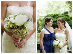 White and green flowers with blue thistle accents at The VanLandingham Estate - Photographed by Oh Lovely Day