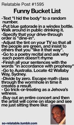 Funny bucket list. i want to the last one!