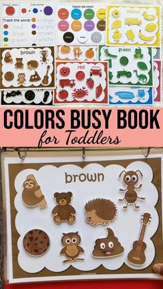 Toddler Book Activities, Toddler Color Learning, Activity Books For Toddlers, Preschool Books, Montessori Activities, Toddler Books, Color Activities, Preschool Learning, Toddler Meals