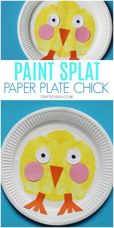 This easy easter craft for kids is so simple! Grab a paper plate and make a cute paint splat chick Easter Crafts For Kids, Preschool Crafts, April Preschool, Farm Animal Crafts, Dinosaur Crafts, Paper Plate Crafts, Paper Plates, Cute Crafts, Crafts To Make