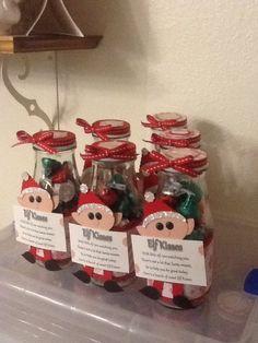 Elf Kisses, repurposed Starbucks frappachino bottles