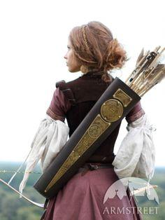 Mittelalter Fantasy Köcher Bogenschütze aus Leder mit Messing