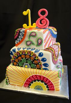 - 8, 10, 12 inch square cakes covered in fondant and decorated in fondant and royal icing.