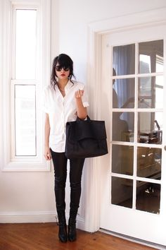 white short-sleeved button-up + black skinnies + black lace-up boots + black satchel + red lip