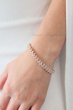 Rose Gold braceletcubic zirconWedding by on Etsy Gold Bridal Jewellery Sets, Wedding Jewelry, Gold Jewelry, Gift Wedding, Luxury Jewelry, Trendy Wedding, Diamond Jewelry, Diamond Bracelets, Sterling Silver Bracelets