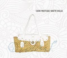 C408 MUSTARD WHITE BOLSA Sofisticada, elegante y fresca; lúcete esta primavera