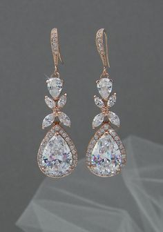 Rose Gold Bridal earrings  Wedding jewelry Swarovski Crystal Wedding earrings Bridal jewelry, Amielynn Earrings by CrystalAvenues on Etsy