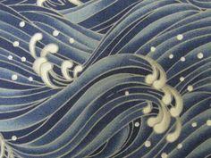 Japanese Cotton Kimono Fabric - Traditional Crashing Waves Pattern