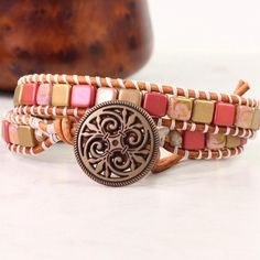 Pink+Wrap+Bracelet+Natural+Leather+Wrap+by+AbacusBeadCreations
