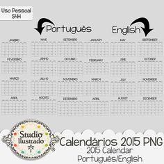 Calendário 2015 PNG, 2015 Calendar, Calendário 2015, Ano, Mês, Dia, Semana, Calendar, Year, Month, Day, Week, Año, Mes, Día, Semana, Português, English, Portuguese, Inglês
