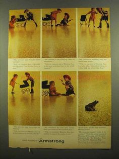 1965 Armstrong Montina Vinyl Corlon Floor Ad-This is a 1965 ad for a Armstrong Montina Vinyl Corlon Floor! The size of the ad is approximately 1960s Interior Design, Vinyl Flooring, Vintage Ads, Old Ads