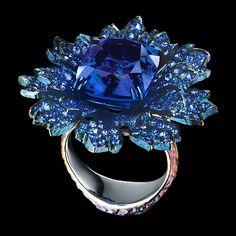 Centaury Ring: 18K white gold, 1 tanzanite 12,89 ct, 280 sapphires 3,85 ct, 32 tsavorites 0,50 ct