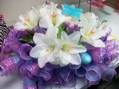 1000 Images About Gravestone Saddle Sprays Deco Mesh Wreaths On Pinterest Grave Decorations