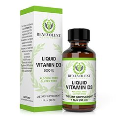 HEALTHY BONES AND TEETH. Vitamin D3 Liquid High Potency Natural Drops. 5000 IU as Cholecalciferol. Absorb Fast to Best Boost Your Energy and Help W...