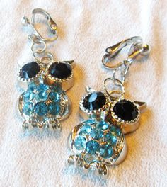 Handcrafted  Clip On Earrings  Silver Plated  Black by ChelleStore, $8.00
