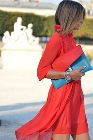 bright bag: (a clutch) red & blue. great dress too...