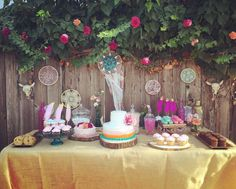 Check out this dessert table at a boho chic birthday party! See more party ideas at CatchMyParty.com!
