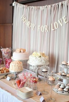 Like the idea of using fabric as a backdrop behind the dessert table DIY wedding ideas and tips. DIY wedding decor and flowers. Everything a DIY bride needs to have a fabulous wedding on a budget! Dessert Bar Wedding, Wedding Desserts, Wedding Table, Diy Wedding, Wedding Cakes, Trendy Wedding, Wedding Reception, Bridal Table, Engagement Party Desserts
