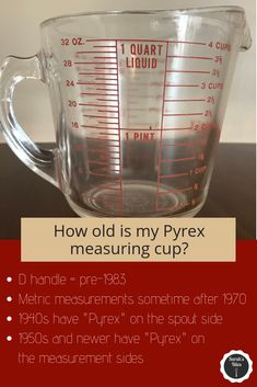 How old is my vintage Pyrex measuring cup? Vintage Kitchenware, Vintage Glassware, Vintage Pyrex, Liquid Measuring Cup, Measuring Cups, Pint Cups, Pink Pyrex, Red And White Kitchen, Pie Bird