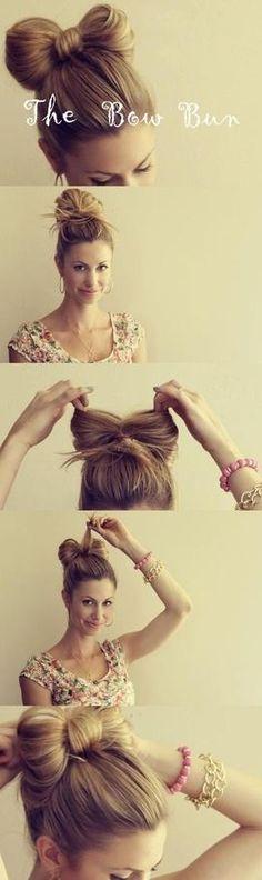 Peinado moño paso a paso...  Muy facil ;)
