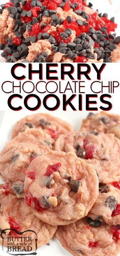 Cherry Chocolate Chip Cookies are soft chewy and full of cherries and chocolate chips. This chocolate chip cookie recipe is a delicious twist on a classic favorite! Cherry Chocolate Chip Cookies are soft chewy. Chocolate Marshmallow Cookies, Chocolate Chip Shortbread Cookies, Chocolate Drizzle, Cookies With Chocolate Chips, Chocolate Christmas Cookies, Chocolate Butter, Homemade Chocolate, Chocolate Recipes, Dessert Nouvel An