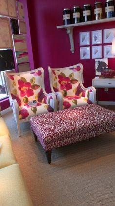 Pink is all the range at High Point. Wesley Hall dies it right with powerful, pink prints on their 740 wood frame and 72 ottoman. #hpmkt