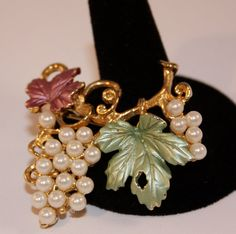 Vintage Brooch pearl faux grapes and leaves by SVintageCollection, $30.00