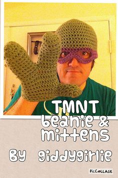 :: giddy crafts by giddy girlie ::: Teenage Mutant Ninja Turtles crochet beanie, scarf, and mittens!