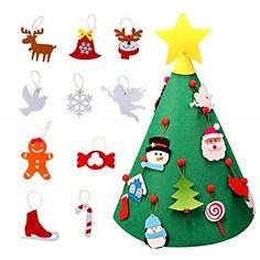 bfc008734ef Beetest 3D DIY Fieltro Árbol de Navidad con 18 unids Niño Adorable Árbol de  Navidad Adornos