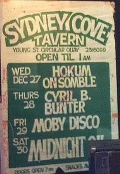 Midnight Oil: MIDNIGHT OIL - 30 Dec 1978 - Sydney Cove Tavern, S...